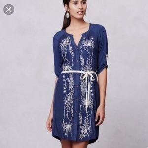 Anthropologie Tiny Blue Embroidered Shirt Dress